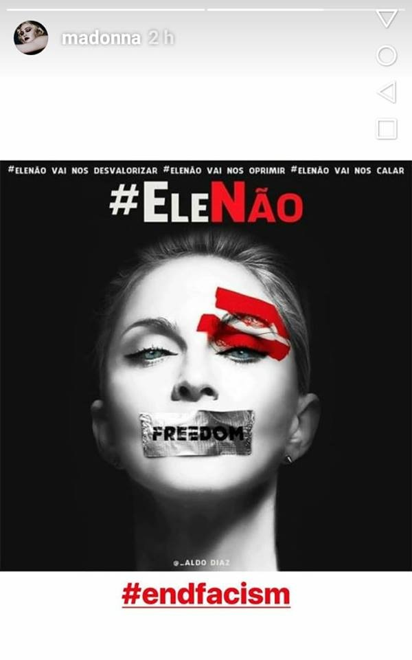 Madonna's Instagram post in solidarity with the #EleNão movement